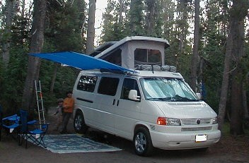 shady boy awning on a vw eurovan 071604 crater lake or country