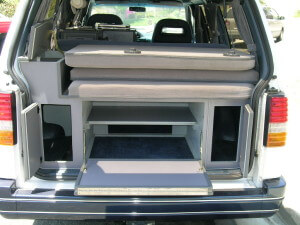 Rear inside view of 1995 Ford Aerostar XL with Country Homes interior